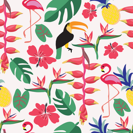Summer background with tropical plants and birds. Pattern of summer holiday, travel and vacation. Illusztráció