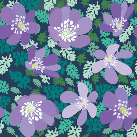 Hand drawn natural leaves and flowers pattern texture on green background. Green leaves and violet flowers seamless vector Fashionable herb wallpaper.