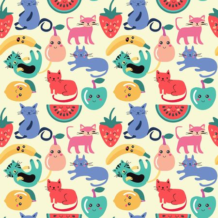 hand drawn cute cats and fruits, funny cartoon style background. Cute cat and summer fruit seamless pattern
