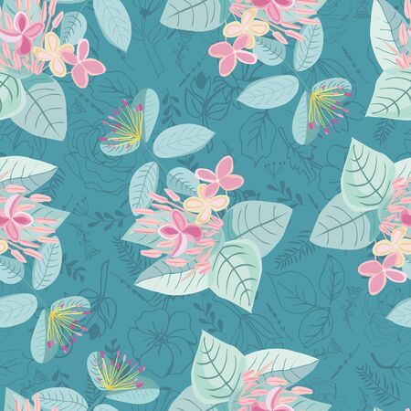 Retro Hand drawing colorful floral seamless pattern. Design can use for fashion,fabric, web, card, wallpaper and all prints on  green mint  background Illusztráció