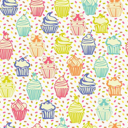 Hand drawing colorful outlined colorful seamless pattern with cupcakes, cute background.