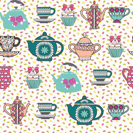 Retro tea colorful cute background  with Collection with a tea pot, tea cup, jars, cupcake. Decorative tea time seamless pattern.