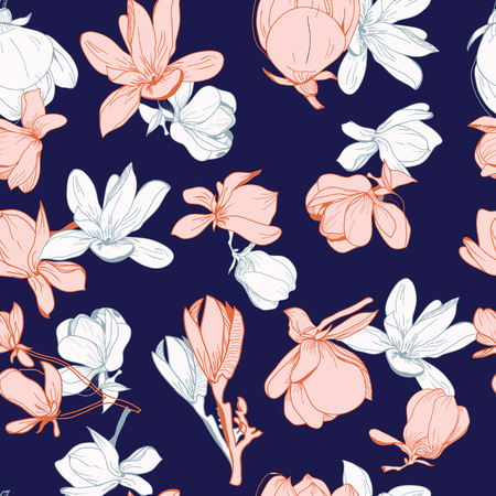 Hand drawn floral pattern of magnolia flowers and leaves on dark blue background in line art style. design for paper, cover, fabric, textile, interior decor