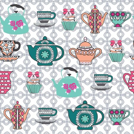 pattern of hand-drawing collection Tea cups, pots, jars, cupcake In vintage style. Background  of Tea Time theme.