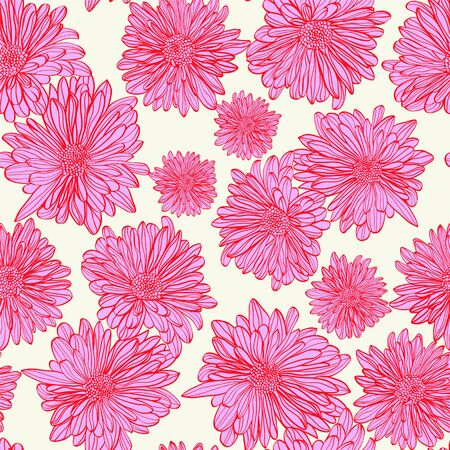 Vector pattern of hand-drawing floral seamless background with outline chamomiles flowers In vintage style. Illusztráció