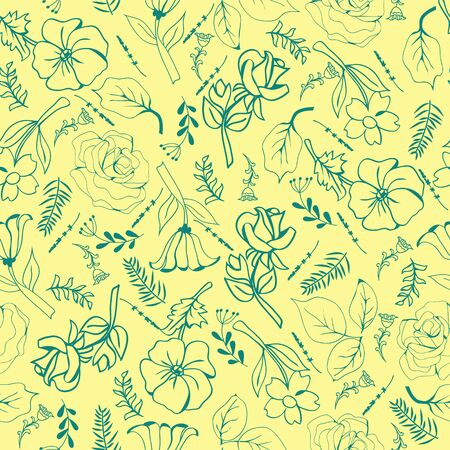 Vector pattern of flowers hand-drawing collection green flowers and plants in sketch style on yellow background. Illusztráció