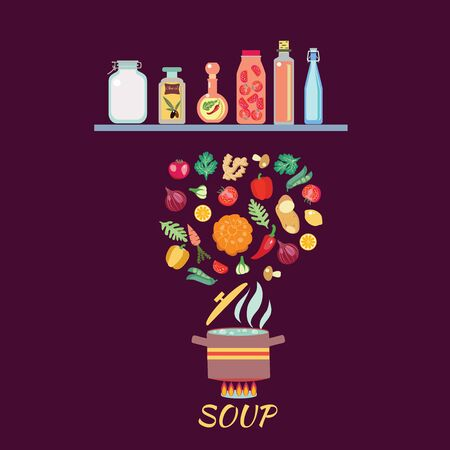 Cooking background with vegetables. Boiled Vegetables in hot water On the stove. Soup recipe cooking concept.