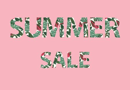 Vector Summer sale lettering. Tropical leaves background letters on pink background