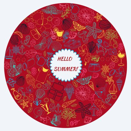 hand drawn summer symbols and objects by the line art set of summer theme doodle collection in round frame.