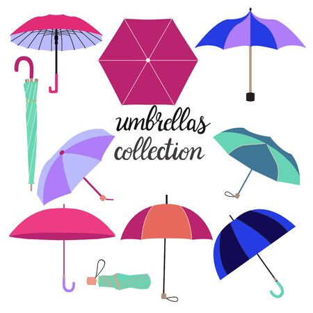 Hand drawn collection of different fashion umbrellas and lettering illustration. Umbrella set in different colors isolated on white background. Illusztráció