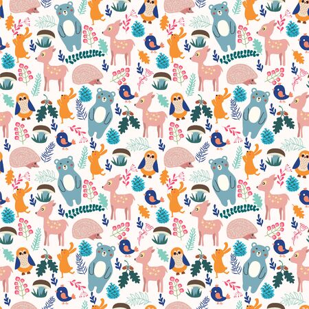 Forest seamless pattern with cute animals  bird, deer, bear, rabbit, hedgehog and owl baby shower background. Illusztráció