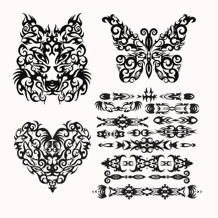 tribal set with heart, wolf, butterfly and  ethnic styles elements for your design, textiles, posters, henna, tattoo.