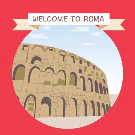 Italy, Colosseum illustration. Travel Enjoy Poster Template. Welcome to Roma promotional banner with famous coliseum.