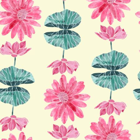 Seamless pattern with Watercolor lotus flowers and leaves. Pink lotus floral tropical background for oriental practices, yoga, meditation and zen culture. Illusztráció