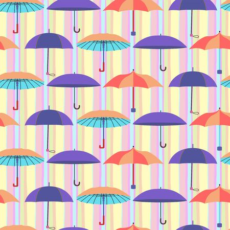 Cute seamless pattern with a set of flat umbrellas Colorful with stripes background.