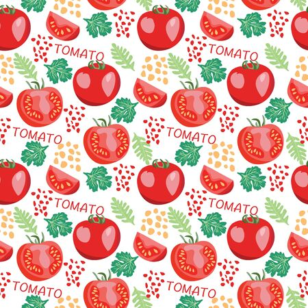 Seamless hand drawn pattern with Fresh tomatoes, slices  tomato. Natural background for textiles, banner, wrapping paper and other and designs.