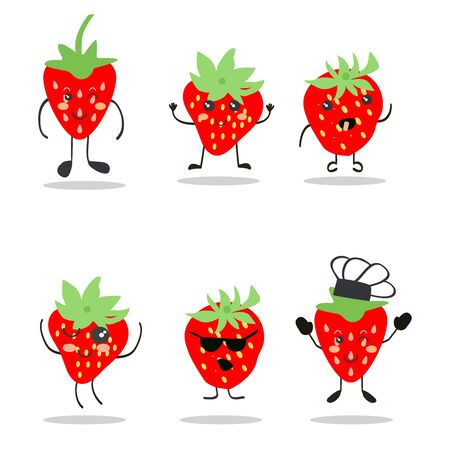cartoon illustration set of strawberry. Cute fruits collection of funny character  isolated on white