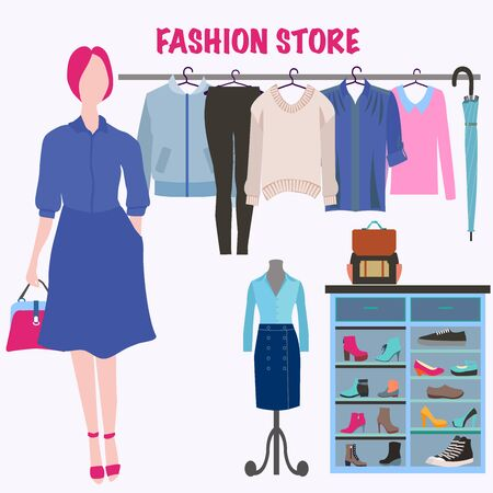 Boutique indoor Fashion store. Flat design Fashion clothes store interior, vector illustration Clothing store.