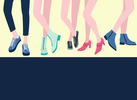 Vector set of five pairs of female legs in the shoes stylish footwear Flat design.