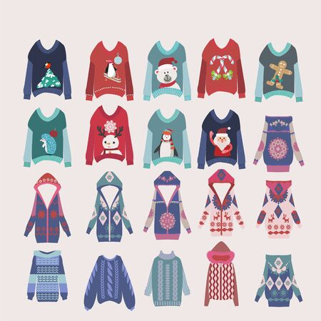 Vector Hand drawn collection of different fashion knitting warm clothes in flat style. Collection of winter clothes  illustration. Иллюстрация