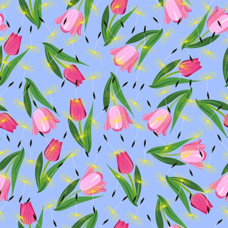 Vector seamless floral Romantic background with tulips and dandelions. Seamless pattern Fashion design for textile, wallpaper, fabric.