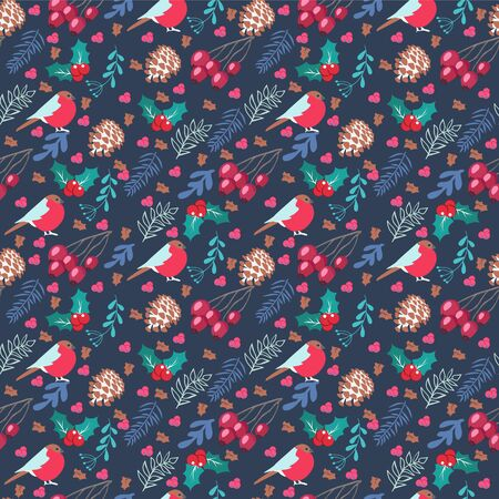 Vector Hand drawn seamless elegant pattern with christmas elements on Dark blue background. Winter nature template for textile, wallpaper, fashion and all prints on retro drawing style.
