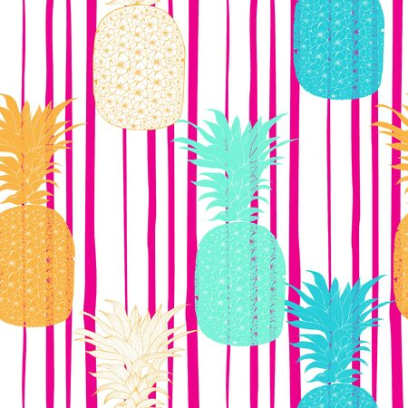 Vector hand drawn Seamless pattern Pineapple background. Vector illustration. Perfect for invitations, greeting cards, wrapping paper, posters, fabric print.