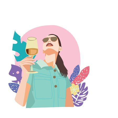 Vector hand drawn portrait of young beautiful lady holding glasses of wine Illustration with tropical leaves background.
