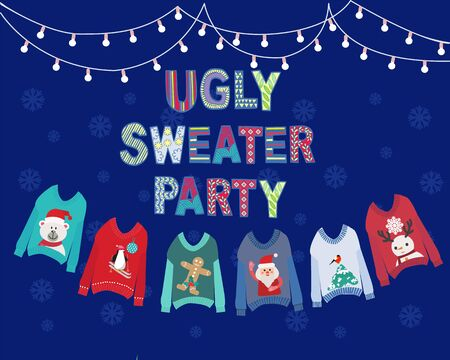 Vector hand drawn background with hanging ugly Christmas sweaters  and string lights. Christmas holiday cute ugly sweater party invitation design.