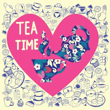 Vector hand drawn collection in heart shape with Doodle tea time elements. Teapots, cups, cupcakes and sweets. Can use for pattern, template, banner, posters, invitation and greeting card design.