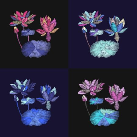 Vector set of embroidery beautiful floral illustration with flowers lotus and leaves on dark background fashion trendy ornament. Ilustracja