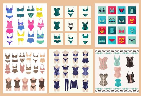 Vector big set Fashionable female lingerie collection underwear set , panties, bras, corsets, bodies. Collection of lingerie Panty and bra set symbol.
