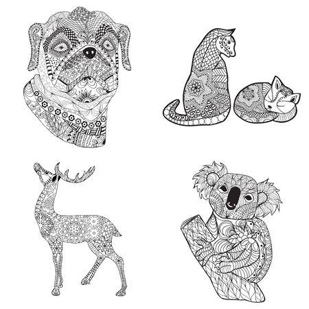 vector cartoon set illustration cat, deer, dog and koala. Black white hand drawn doodle animal for coloring page, shirt design effect, tattoo and decoration.