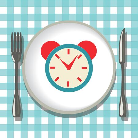 Vector hand-drawn empty plate with folk, knife and alarm clock. Flatware on checkered tablecloth background.