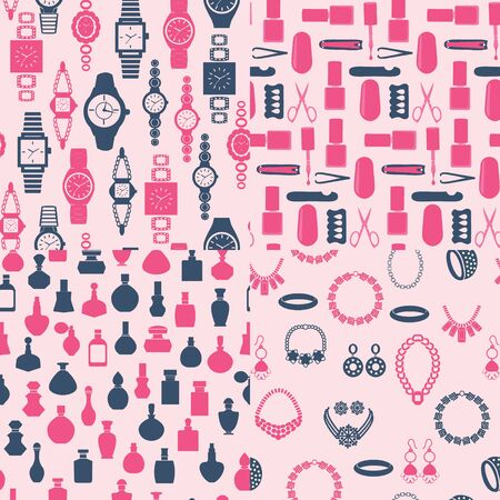Vector set of seamless background Vector of women accessory jewelry, watch, perfume and beauty salon elements. Ilustracja