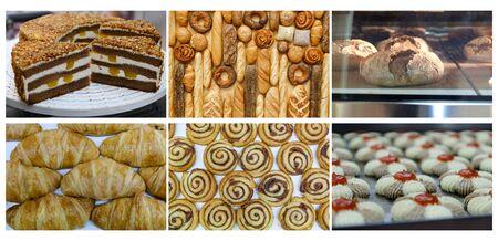 Sertie de pâtisseries savoureuses fraîches et collection d'aliments de boulangerie sur fond blanc Banque d'images