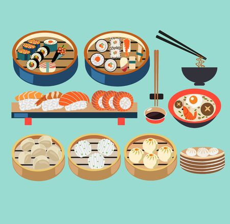 Vector Asian food illustration set of steamers with dim sum, baozi and Japanese dishes, Sushi set. Vector flat asian food icons. Ilustração