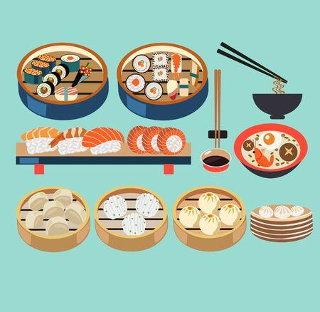 Vector illustration de la cuisine asiatique ensemble de cuiseurs à vapeur avec dim sum, baozi et plats japonais, ensemble de sushis. Icônes de cuisine asiatique plat vectorielles.
