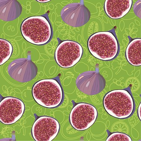 Vector hand drawn seamless pattern with fresh ripe delicious figs whole and half on green background. Can use for pattern, template, banner, posters, invitation and greeting card design.