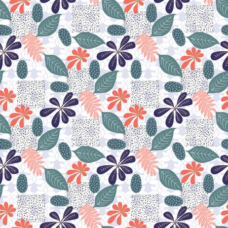 Trendy seamless exotic pattern with foliage. Modern abstract design for paper, wallpaper, cover, fabric, Interior decor and other users. Vector abstract botanical illustration. Illusztráció