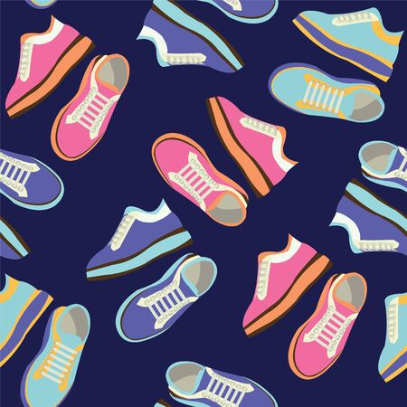 Fashion Sneakers shoes vector seamless pattern. Fitness sneakers shoes for training, running shoe illustration.