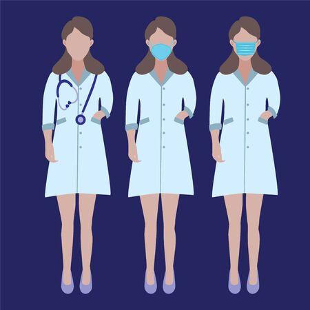Vector Set of Doctors Character. Illustration Women's profession doctors nurse with surgical masks and phonendoscope. Stop Coronavirus concept. Vektoros illusztráció