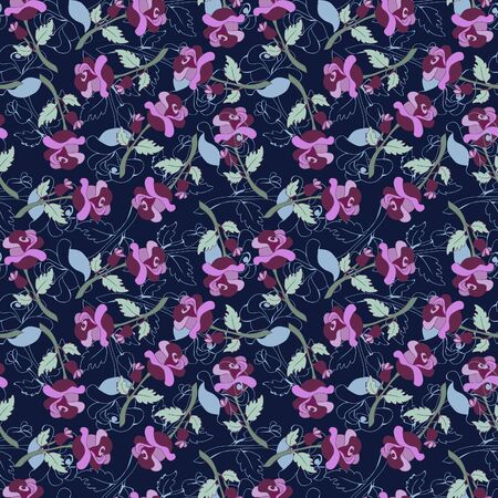 Seamless pattern with vintage roses. Beautiful botanical background with flowers.