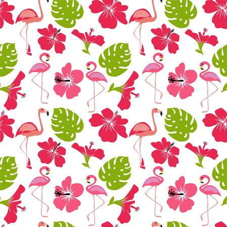 Vector Pattern of monstera leaves, flamingo, flowers hibiscus flower hawaii summer background. Vector illustration