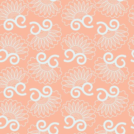 Vector Abstract seamless pattern floral swirls elements for wallpapers and background. Vintage style.