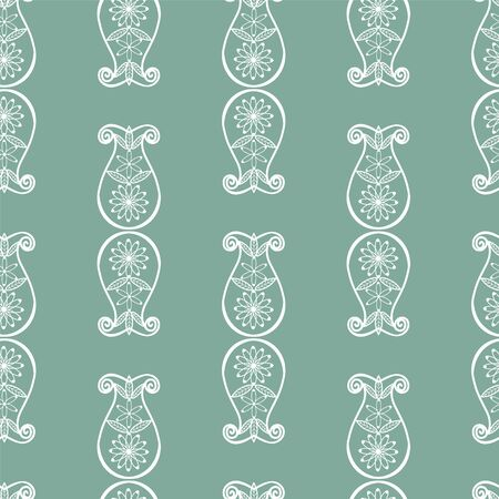 Vector Abstract seamless pattern with floral swirls elements for wallpapers and background. Vintage style. Illusztráció