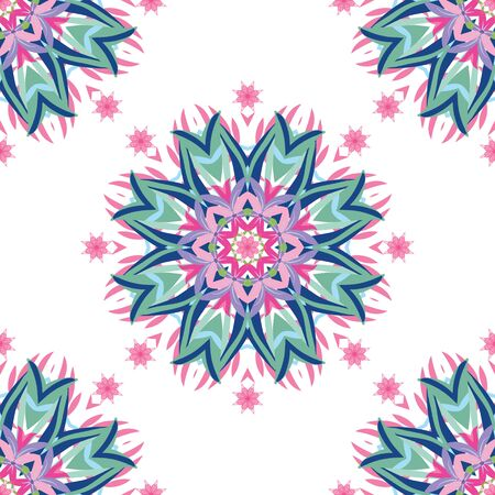 Vector abstract floral pattern with hand drawn mandalas. Mandala pattern for invitations, greeting cards, scrapbooking, print, gift wrap, manufacturing.
