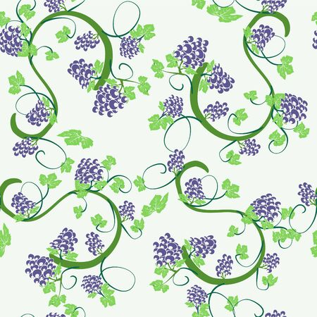 Vector elegant seamless background vines and bunches of grapes.