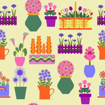Vector collection of the pot plants, garden decorative plants growing in pots.  Collection of natural home decorations. Illusztráció