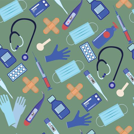 Vector Seamless Pattern with equipment of medicine and health theme on  green background.
